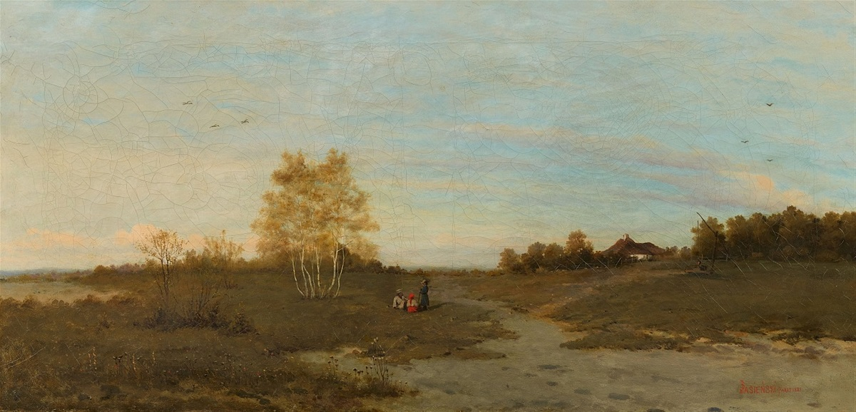 Panoramic Landscape with Birch Trees and Three Travellers at Rest