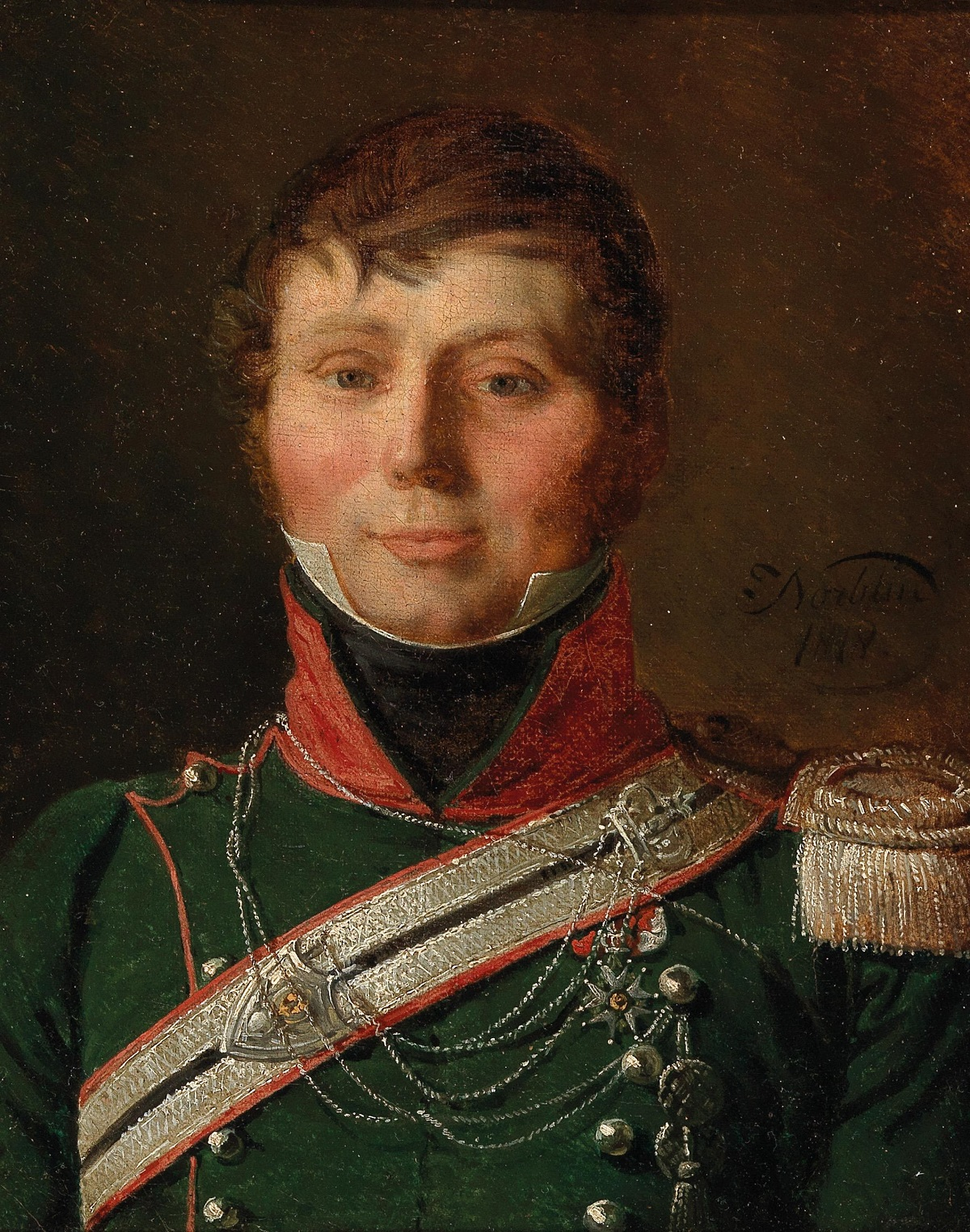Portrait of a capitaine du 1er regiment des chasseurs-a-cheval, decorated with the Knight's Cross of the French Légion d'honneur